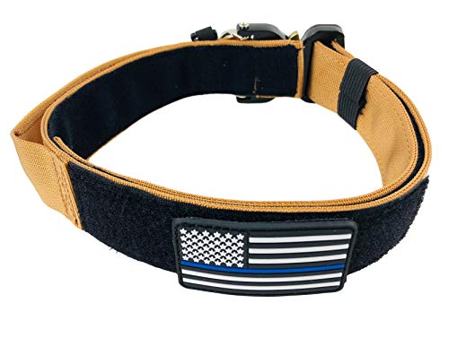 ZeusTacK9 Tactical Dog Collar Working K9 Or Pet - 1.5 Inch Wide Nylon Heavy Duty Collars Metal Buckle Quick Release D-Ring USA Flag Patch - Control Handle for Handling Training Dogs (MED, TAN)