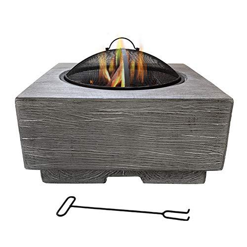 HLEZ Feuerkorb Plum, Feuerstelle mit Grillrost 60 x 39 cm Modische und Künstlerische Magnesiumoxidbasis für Heizung/BBQ, Garten Terrasse Feuerschale