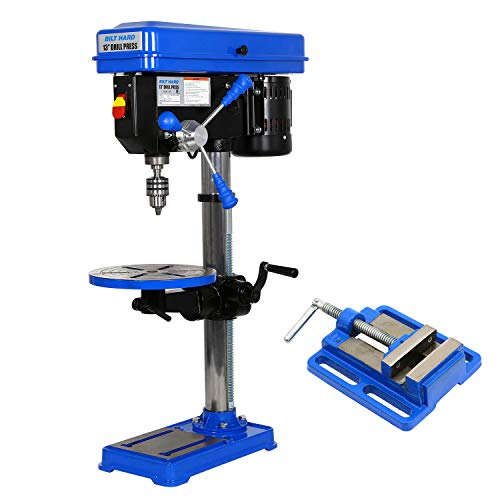"BILT HARD 13 inch Floor Drill Press with Vise, 16 Speed Stand Bench top Drillpress, 6.6 Amp 120V 1 HP, 5/8"" B16 Chuck, CSA Certified"