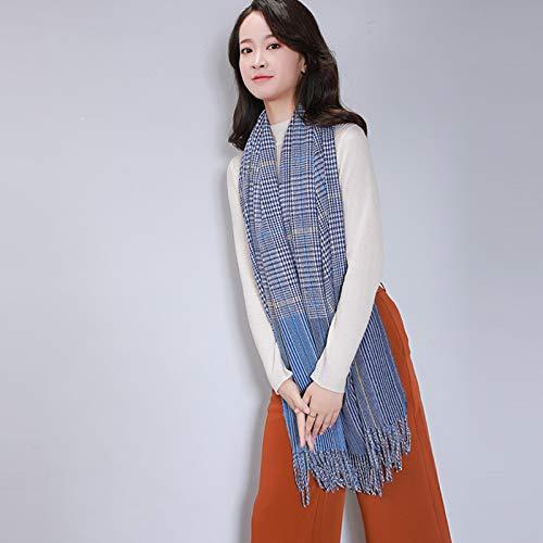Schals Damen Herbst Und Winter Warm Imitation Cashmere Plaid Schal 200Cm Blau 1
