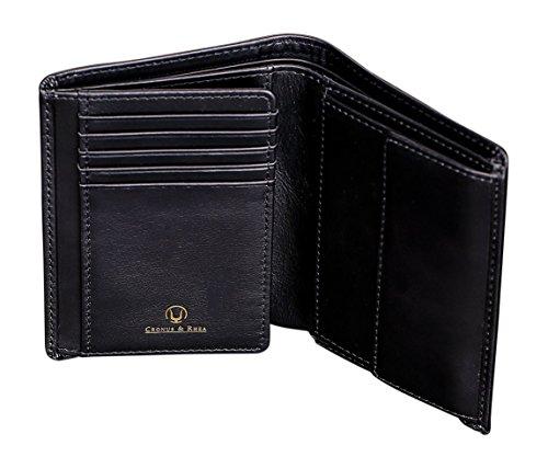 Cronus & Rhea® | Luxus Geldbörse mit Münzfach aus exklusivem Leder (Charon) | Geldbeutel - Brieftasche - Portemonnaie - Geldklammer | Echtleder | Mit eleganter Geschenkbox | Herren (Schwarz)