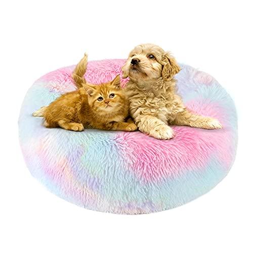 Peluche Ciambella Per Animali Domestici 50cm Cuccia Per Gatti Letto Per Cani Rotondo Donut Marshmallow Pet Bed Cuccia Antistress Cane Calming Bed Dog Cuccia Cane Morbida Cuccia Gatto, Multicolor