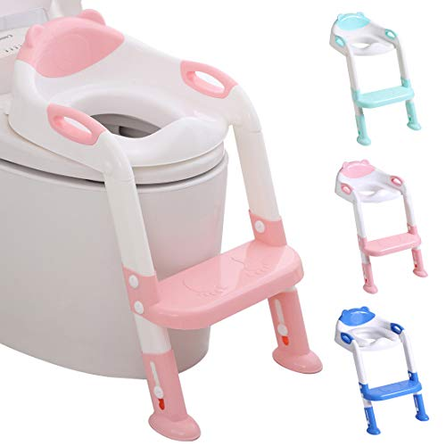 711TEK Potty Training Seat Toddler Toilet Seat with Step Stool Ladder,Potty Training Toilet for Kids Boys Girls Toddlers-Comfortable Safe Potty Seat Potty Chair with Anti-Slip Pads Ladder (Pink)