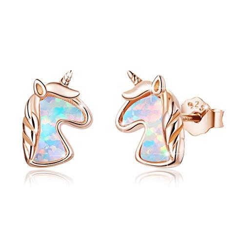 Opalo Pendiente de Plata 925 con Unicornio, BAMOER Pendientes Hipoalergenicos Mujer Niña Lindos Pendientes de Oro Rosa Animales