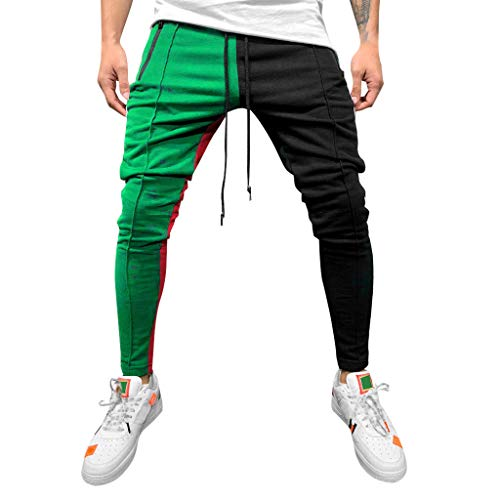 Stoota 2019 Men's Casual Solid Loose Patchwork Color Sweatpant Trousers Jogger Pant Green