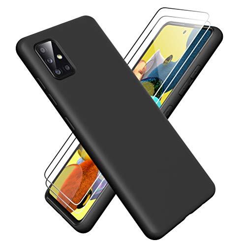 Oududianzi - Funda para Samsung Galaxy A51 5G + [2 Pack] Protector Pantalla, Carcasa de Silicona Líquida Gel Ultra Suave Funda con tapete de Microfibra Anti-Rasguño - Negro