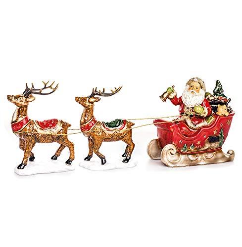 EUROCINSA slee van keramiek met rode kerstman en twee rendieren met licht (zonder batterijen) 65 x 22 cm. 1 stuks, eenheidsmaat.