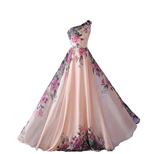 emmarcon Abito da Cerimonia Donna Damigella Vestito Lungo Elegante Floreale da Festa Party-Pink-S(Busto 84cm)