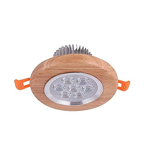 Lámpara de techo LED redonda de madera Lámpara empotrada de panel plano para el hogar de lujo Focos de madera de aluminio Antideslumbrante Centro comercial comercial Accesorio de iluminación decorativ