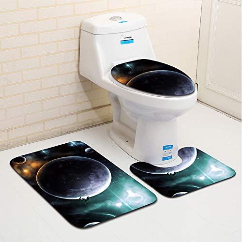 WDDGPZYD WC-Matte Star Series Salle De Bains Tapis 3 Pcs Toilette Tapis Tapis De Bain Antidérapant Douche Tapis De Douche Couverture Absorbant Toilette