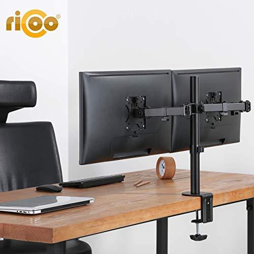 RICOO TS6711, Monitor-Halterung 2 Monitore Schwenkbar Neigbar 13-27 Zoll bis 8-kg je Schwenk-Arm Bildschirm-Ständer Tisch-Standfuß VESA 75x75-100x100