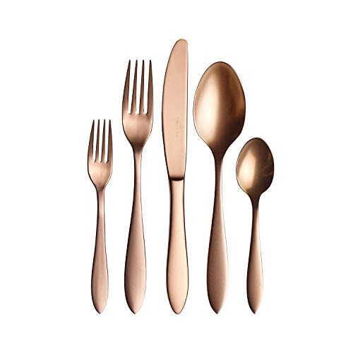 Villeroy und Boch Manufacture Cutlery Tafelbesteck für bis zu 4 Personen, 20-teilig, Edelstahl, Kupfer