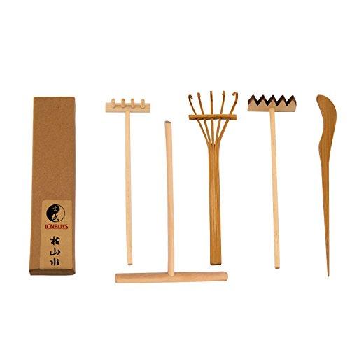 ICNBUYS Professionelle Mini Zen Garten Tools Set drei Rechen One Bambus Tuschefüller One Schieben Sand Pen
