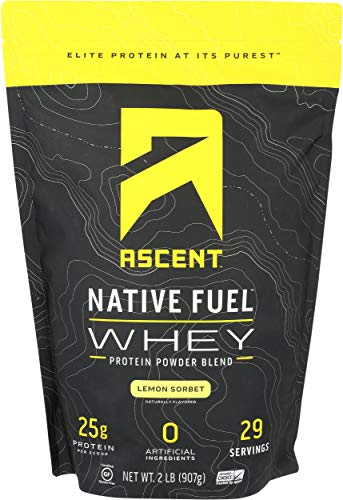 Ascent Native Fuel Whey Protein Powder - Lemon Sorbet - 2 lbs (Best Gud Night Sms)