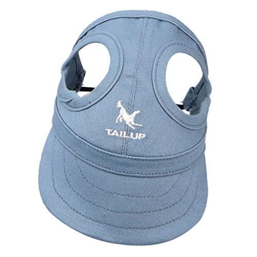 Hundecap Hundehut Baseballmütze Leinwand Baseball Cap Hut Mütze Kappe mit Ohrlöchern für Hunde - Blau, L