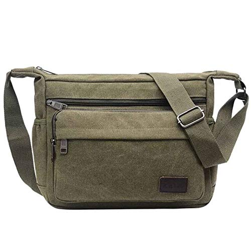 JAKAGO Waterproof Messenger Shoulder Bag Multi Pockets Crossbody Bag for for Men Women, Casual Travel Bag Canvas Handbag Briefcase for Working Shopping School Fishing Camping Hiking (Green)
