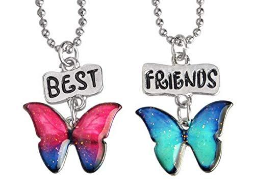 Lovelegis Due Collane da Bambina - Amicizia - Best Friends - Migliori Amiche per 2 - Kawaii X 2 - BFF - Coppia - Farfalla - Farfallina - Natale - Colore Multicolore