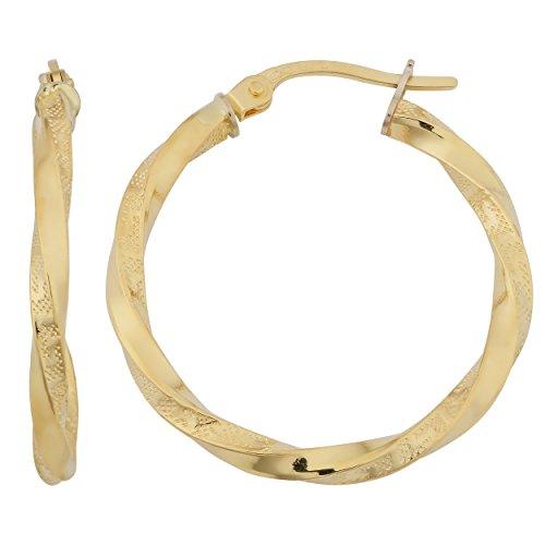 18K amarillo oro 2mm griego Key torcido pendientes de aro