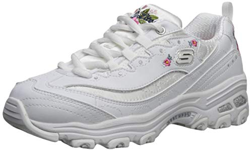 Skechers Girls' D'Lites Bright Blossoms Trainers, White (White DuraleatherSatinMulti Trim Wht), 4 UK (37 EU)