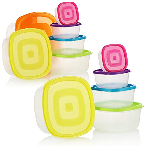COM-FOUR Set di barattoli in plastica, 11 pezzi, contenitore con coperchio, contenitori per alimenti in 6 misure, adatto per lavastoviglie, microonde e congelatore