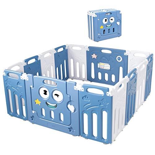 COSTWAY Parque Infantil Bebé con 14 Paneles Plegable Centro de Actividad para Niños Barrera de Seguridad con Puerta Valla de Juego para Niños de 3 Meses a 6 Años (azul)