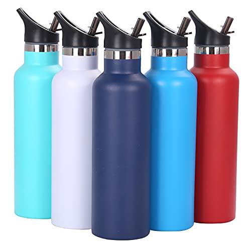 Malidily Bottiglia Termica, Senza BPA Bottiglia Acqua in Acciaio Inox + Cannuccia (2 Tappi), Borraccia Termica per Bambini, Adulto, Scuola, Sport, Palestra, Bici 600ml/750ml (Marina Militare)