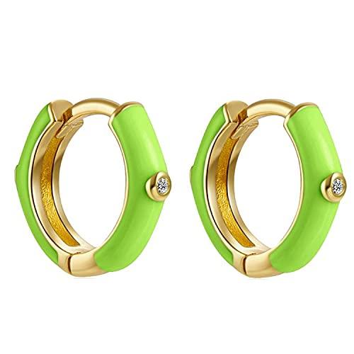 Pendientes Aros Aretes Mujer Plata de Ley 925 Mls Esmalte Verde Neon 12 mm Cierre Clip Piercings Circulo