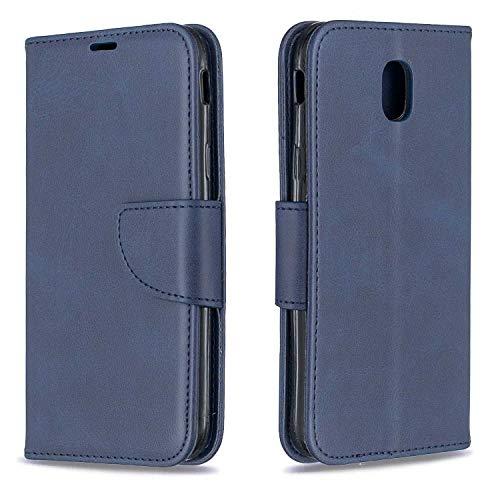 GIMTON Hülle für Galaxy J5 2017, Kratzfestes PU Leder mit Magnetisch Verschluss und Kartenfach für Samsung Galaxy J5 2017, Hochwertige Brieftasche Tasche, Blau