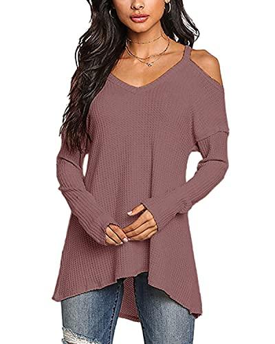 YOINS Camiseta Mujer de Manga Larga Camisa con Hombros Fríos Color Sólido Cuello en V Blusa Óxido Rojo-Nuevo XXL