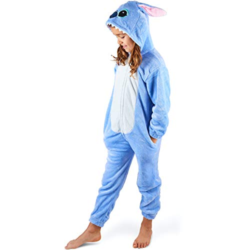 Maybear® Combinaison Pyjama Enfant Adulte Costume d'animal Cosplay Doux Chaud Onesie Déguisement Bleu 135-145 (S)