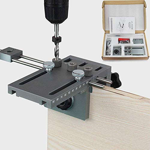 InLoveArts Bohrerführung für die Holzbearbeitung mit 5/6/8/10mm Bohrbuchsen 3 in 1 Bohrschablone Dowel Jig Dübelvorrichtung Dübelfräse Plus Positionierungsset für die Bohrführung