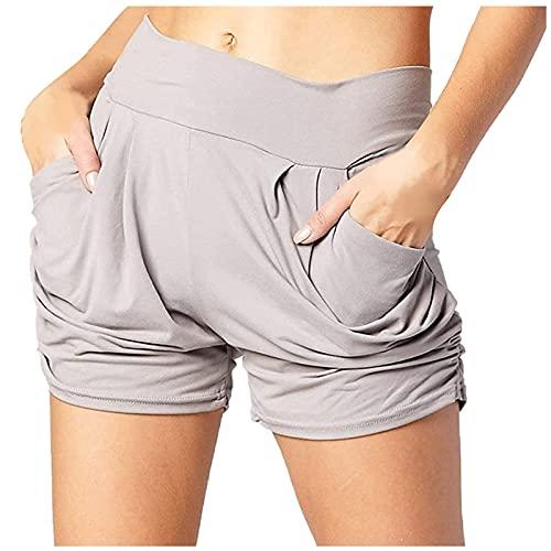 Pantalón Corto Mujer con Bolsillos Laterales Pantalones Cortos Mujer de Color Liso Pantalones Mujer de Casual Verano Shorts Suelta y Cómodo Pantalones Cortos Ideal para Ocio,Fitness,Gym