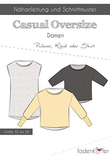 Schnittmuster und Nähanleitung - Damen Pullover Kleid Shirt - Oversize