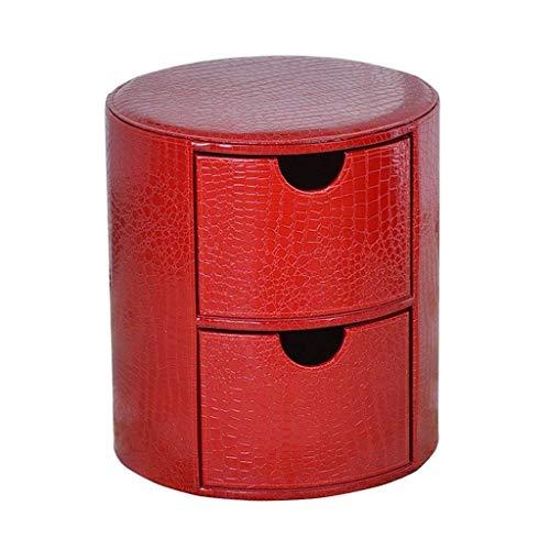 Productos para el hogar Redondo 2 Cajas de almacenamiento Asiento de PU Cambio de asiento Banco de zapatos Pasillo Sala de estar Taburete de maquillaje rojo Taburete de sofá Taburete de madera Asie