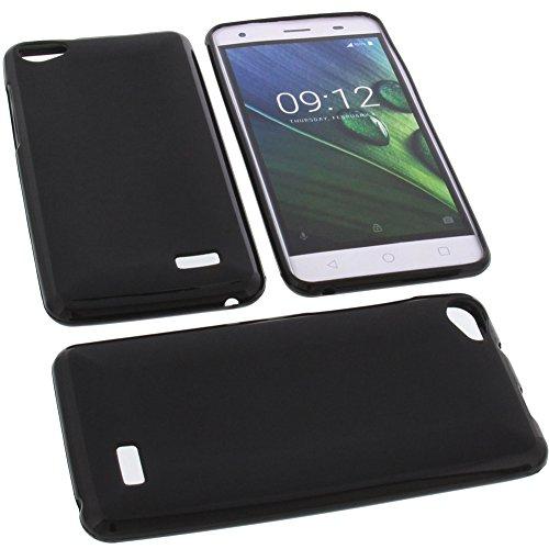 foto-kontor Tasche für Acer Liquid Z6E Gummi TPU Schutz Handytasche schwarz