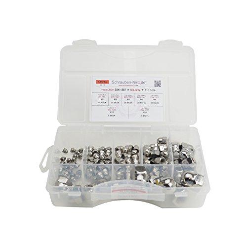Sortiment Edelstahl A4 Hutmuttern DIN 1587, M3 bis M12, 110 Teile, Material: V4A VA