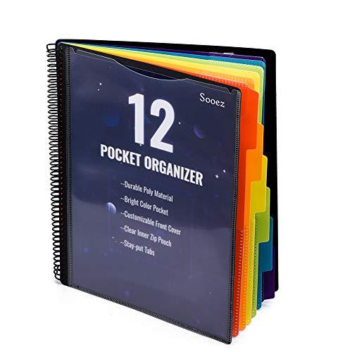 12 Pocket Poly Project Organizer, Sooez Letter Size, 1/6-Cut Tab, Project Folder, Binder Organizer Project Organizer Pocket Folder Organizer School Organization Binder with Pockets, Black Cover