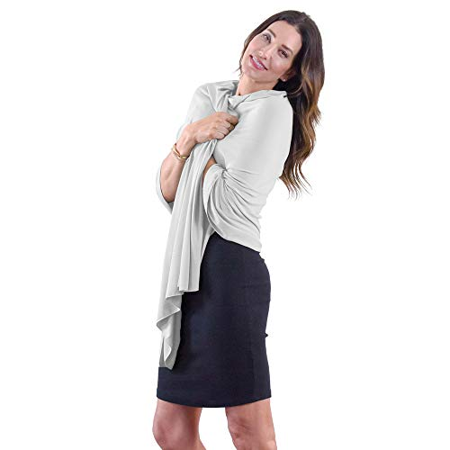 Happyluxe Travel Blanket and Wrap | Shawl | UV Sun Protection UPF 50+ | Made in the USA | Silver Gray