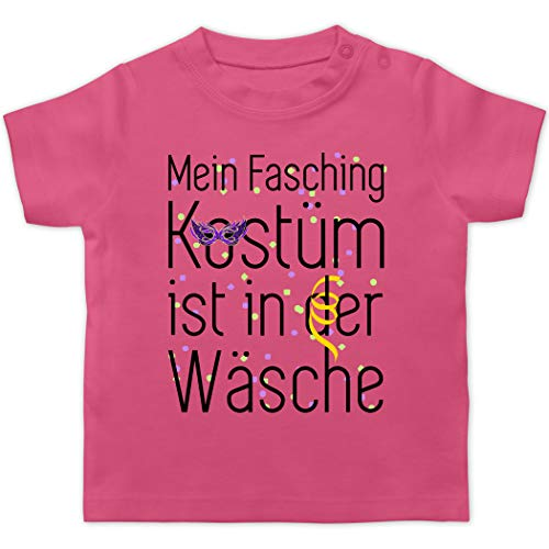 Karneval und Fasching Baby - Mein Fasching Kostüm ist in der Wäsche - 12/18 Monate - Pink - raupe nimmersatt - BZ02 - Baby T-Shirt Kurzarm