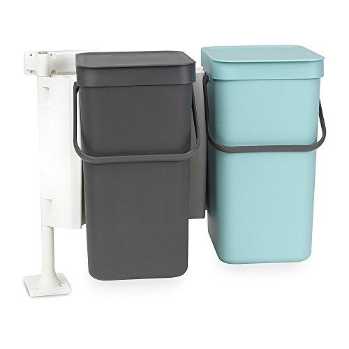 Brabantia Sort & Go Poubelle encastrable, Plastique, Gris / Vert Menthe , 16 litres, Paquet de 2