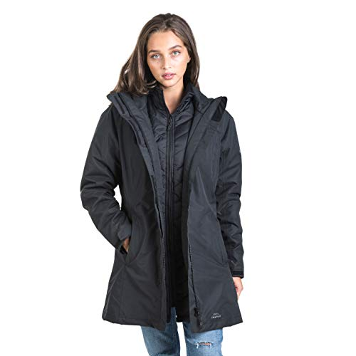 Trespass Alissa II, Black, XXS, Wasserdichte 3-in-1 Jacke mit Kapuze, herausnehmbare Innenjacke aus Fleece für Damen, XX-Small / 2XS / 2X-Small, Schwarz
