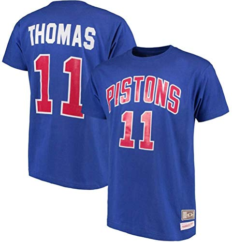 MMQQL Hombres Camiseta de Baloncesto de la NBA jeysey pistones # 11 Thomas Ronda Retro Cuello jeysey, Fitness Sports Superior Respirable,XXL