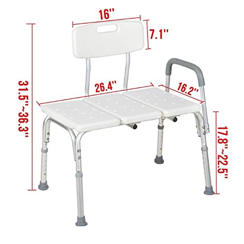 2019 New Shower Chair Bath Chair Bench Seat with Arms Backs Heavy Duty 330 lbs Handicap Shower Chair 3 Blow Molding Plates Aluminium Alloy 10 Height Adjust Suction Cup Bathtub Lift Chair Baby Seniors