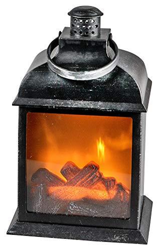 dekojohnson LED-Kamin Laterne Batterie Betrieb ohne Heizung mit 3D Flammen-Effekt - Kaminfeuer mit Timer-Funktion- Feuerlampe Standkamin 15x22cm
