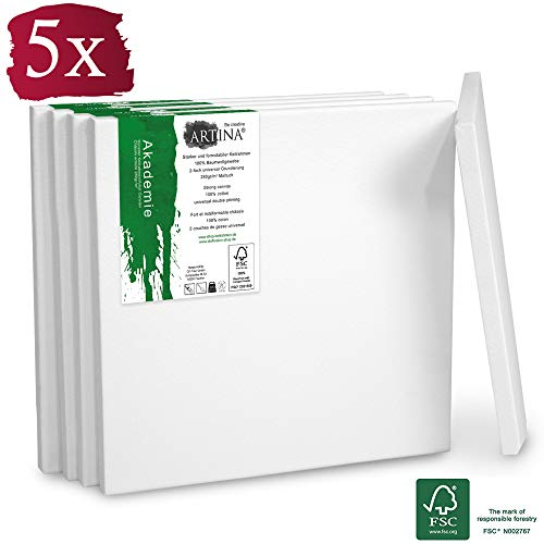 Artina FSC Keilrahmen Akademie 5er Set 15x15 cm - Aus 100% Baumwolle Leinwand Keilrahmen weiß - 280g/m² - verzugsfrei