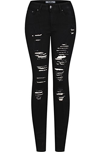 2LUV Women's Stretchy 5 Pocket Destroyed Black Skinny Jeans, Black3 , 13