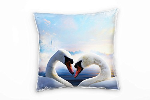 Paul Sinus Art Animals, Two Swans, Heart-Shaped Castle in Background Decorative Cushion 40 x 40 cm for Couch Sofa Lounge Decorative Cushion – Decoration to Feel Good Made in Germany