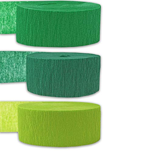 Crepe Party Streamers, 9 rolls, 3 Colors, 739 ft - Emerald Green + Forest Green + Lime Green - 243' per color (3 rolls per color, 81 foot each roll) - For party Decorations and Crafts - Flame Resistant, Bleed Resistant, Made in USA