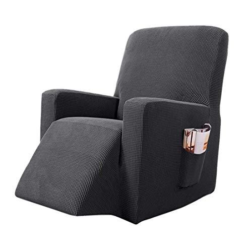 Nati Sesselbezug für Relaxsessel Jacquard Sesselschoner Stretch Sesselhusse mit Seitentasche für Fernsehsessel Elastisch Bezug für Liege Sessel Sofabezug Grau