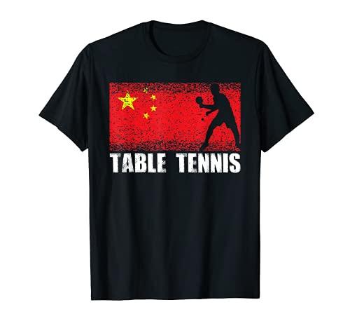 Deporte de tenis de mesa, bandera de China, jugador de ping Camiseta